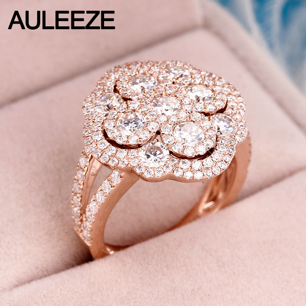 Round Cut Lab Grown Diamond Ring 14K Rose Gold Cathedral Moissanites ...