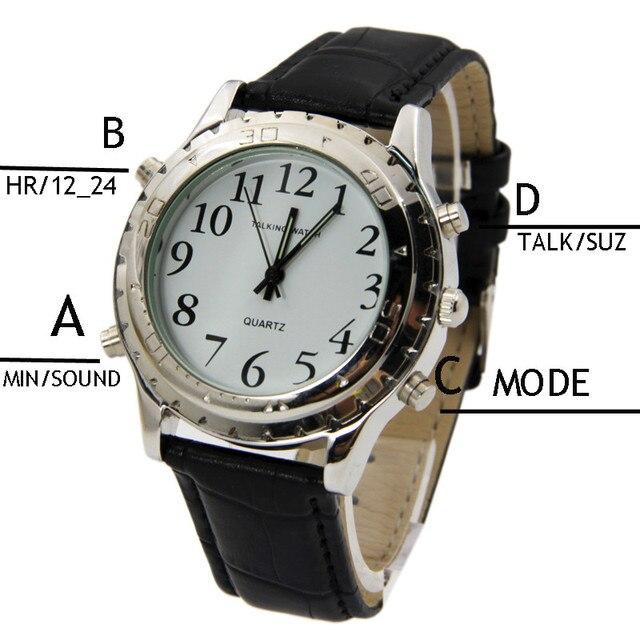 5d1a7a4d214 Homens da moda Inglês Relógio Falando Relógio para cegos ou deficientes  visuais Escala Relógio Banda Homem