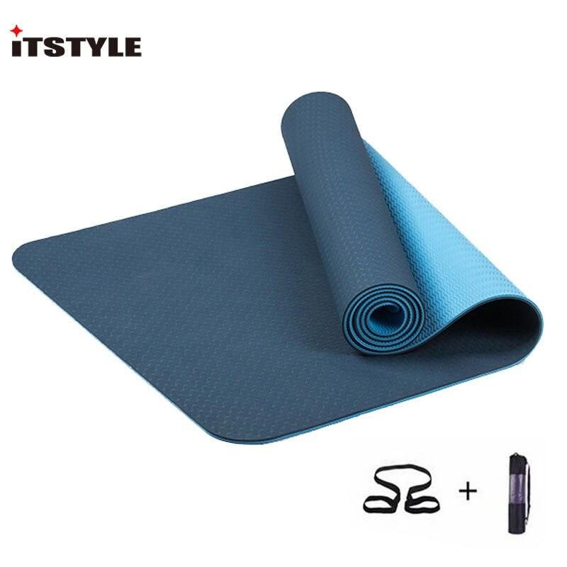 ITSTYLE TPE коврик для йоги 6 мм нескользящий коврик для йоги фитнес зал Пилатес Colchonete коврик для занятий спортом|Коврики для йоги|   | АлиЭкспресс