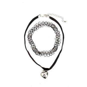 10pcs/set Black Choker Necklaces Tiny Heart Charm Gothic Jewelry Mermaid Fishing Line Stretchy Tattoo Necklace for Women  choker