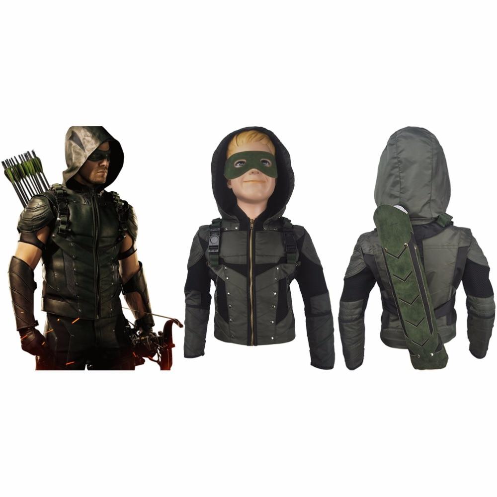 Men adults Arrow Season 6 Oliver Queen cosplay halloween costume jacket coat superhero outfit xmas gift anime comic-con