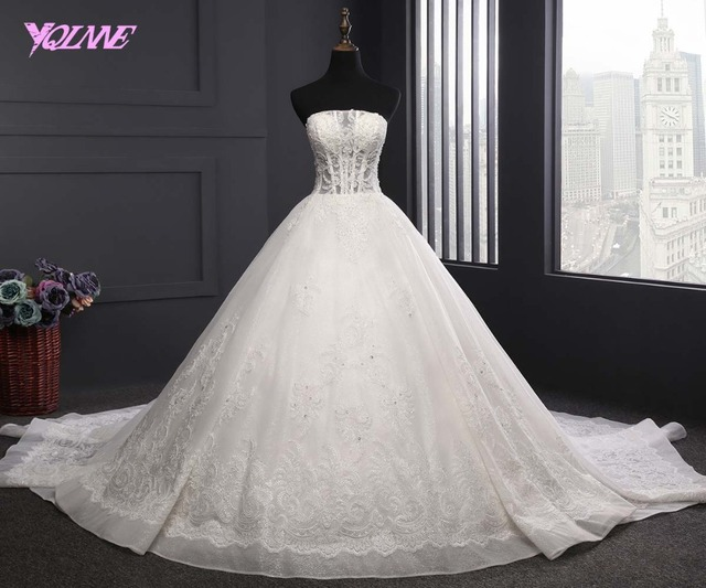 YQLNNE 2018 Ivory Lace Ball Gown Wedding Dress Strapless Lace-up Bridal Gown Vestido De Noiva