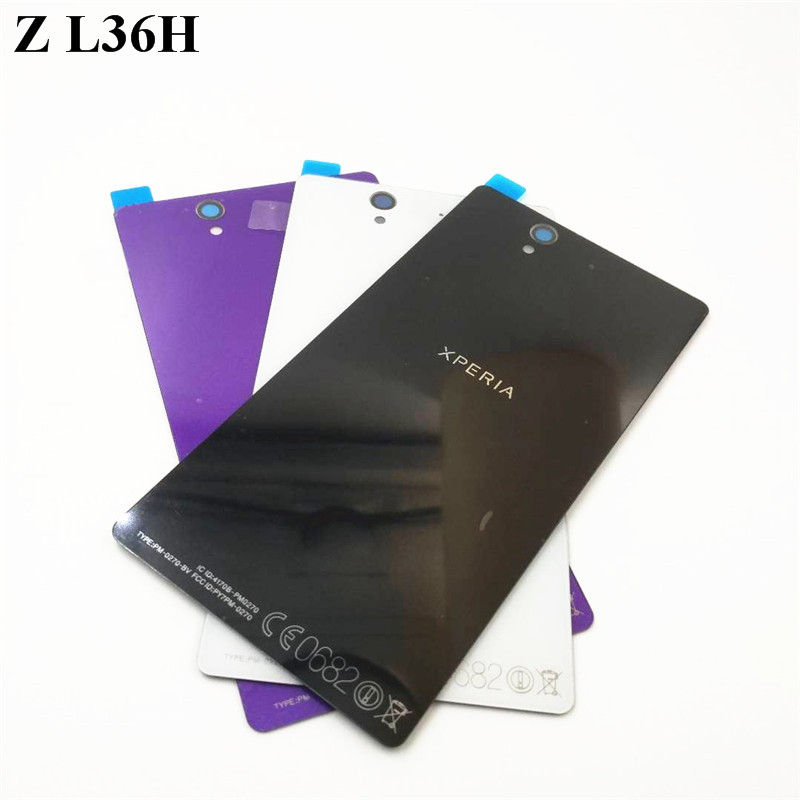 1 pz Per Sony xperia Z L36H L36 C6603 C6602 Cassa di Vetro Sostituzione Casi Della Copertura Posteriore della Batteria Della Copertura Dell'alloggiamento L36I