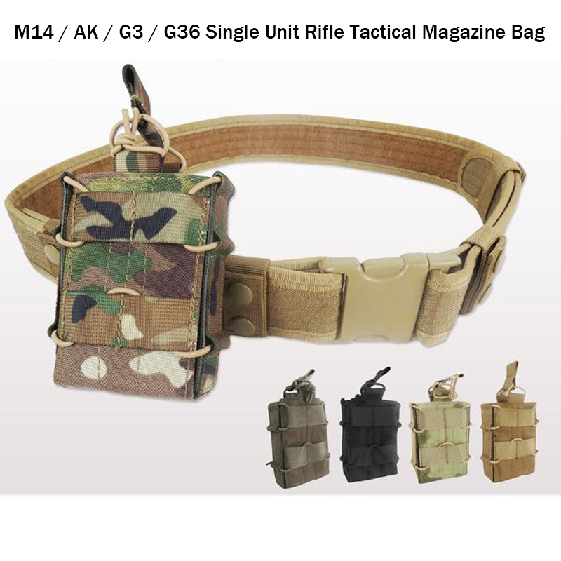 20171000d Nylon Single Unit Rifle Tactical Magazine Pouch Multicam Military Army Utility Tatico Molle Pouch For M4/m14/ak Bag Office & School Supplies