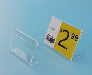 Image 1 - 4*6CM 50 pcs L label holder acrylic label price tag card display frame stand label frame table desk sign stand label holder case