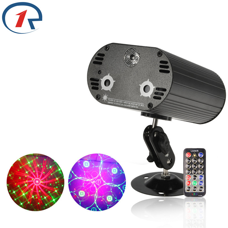 ZjRight IR Remote 3 Lens 36 Patterns projector Red Green color laser Blue LED Mix Stage Light Disco KTV Bar party Sucker lights