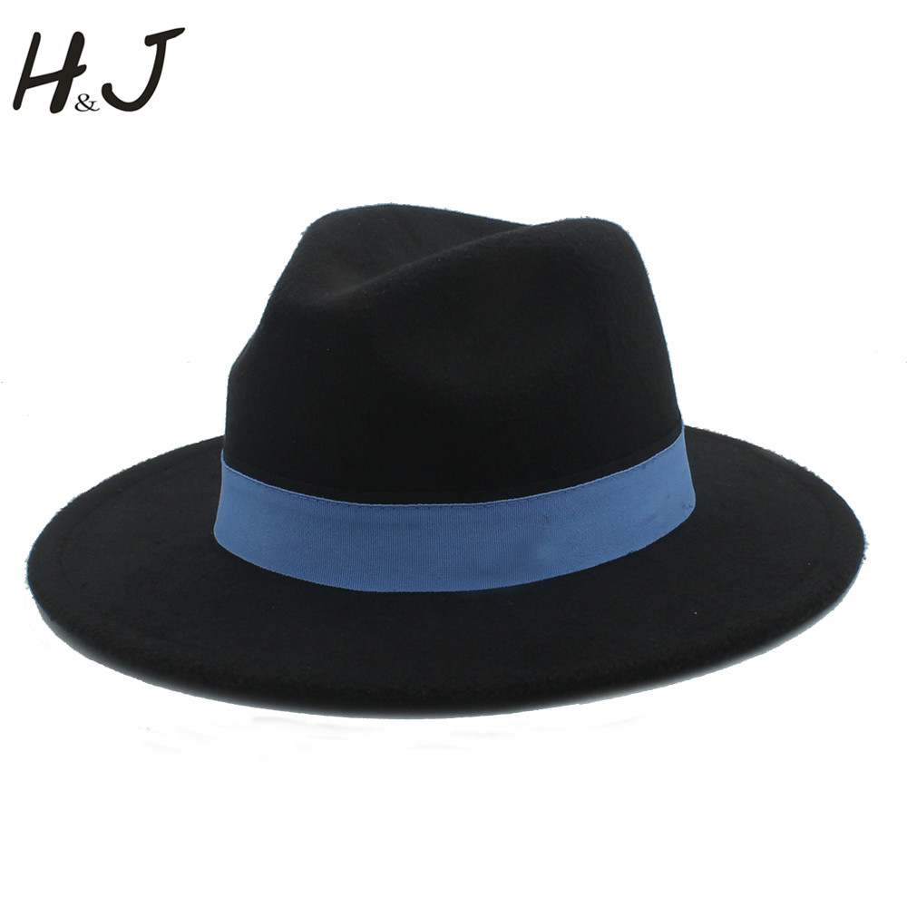 5a579b390d2 Women Men Wool Fedora Hat For Winter Autumn Floppy Chapeu Feminino Cloche Wide  Brim Jazz Church
