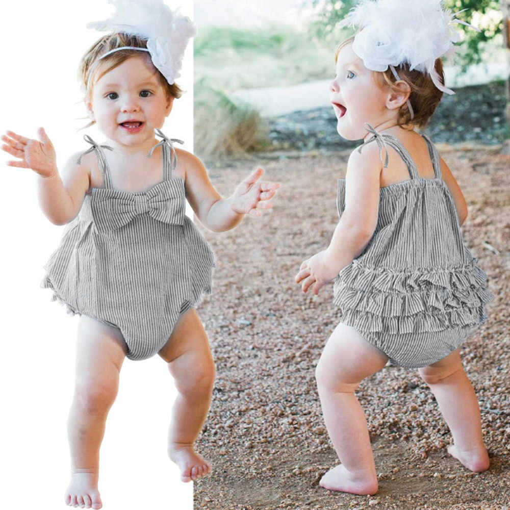 9358a0efa8a Detail Feedback Questions about Newborn Baby Girls clothes Rompers summer  2018 toddler girl romper Striped Seersucker Bubble Straps Ruffle Layers  Bowknot ...