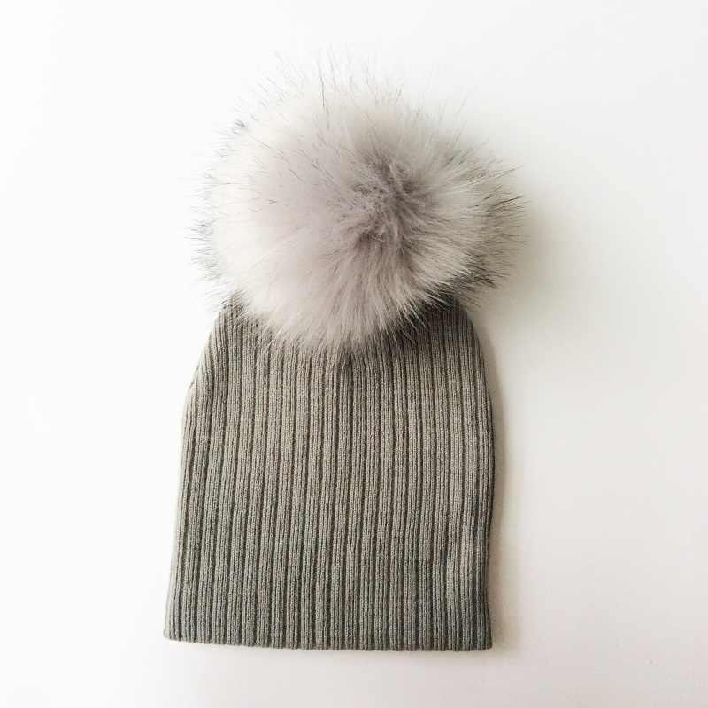 หมวกเด็ก Faux Fur Pompom หมวกถักหมวกเด็กหมวกฤดูหนาวเด็กวัยหัดเดินหมวกเด็กหมวก Bonnet หมวกเด็ก