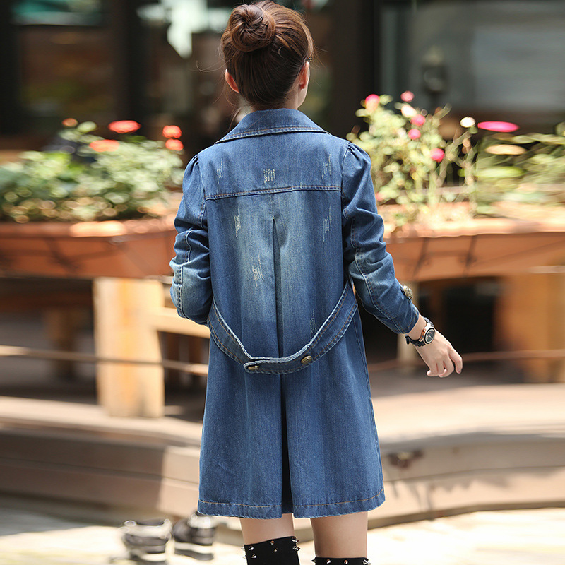 New Korean Fashion Women's Wear Medium-Length Slim And White Windbreaker, Slim And Skinny Denim Jacket