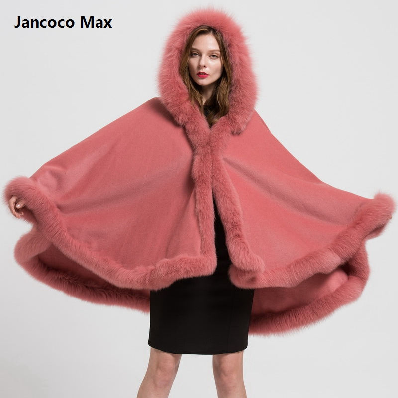 Top Quality Genuine Fox Fur Collar Trim & Wool Cape Women Detachable Hooded Poncho Winter Classic Shawls Coat S1723