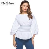 Willstage White Blouse Women Lantern Sleeve Waist Slim Bandage Shirts Elastic Zipper Tees Elegant T 2018