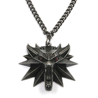 New Wizard wolf head witcher chains pendant necklace the witcher 3 medallion wild hunt pendant necklace EL001