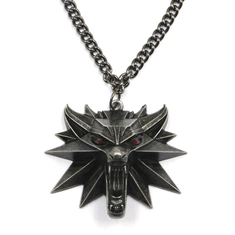 Nouveau assistant tête de loup witcher chaînes pendentif collier the witcher 3 médaillon sauvage chasse pendentif collier EL001