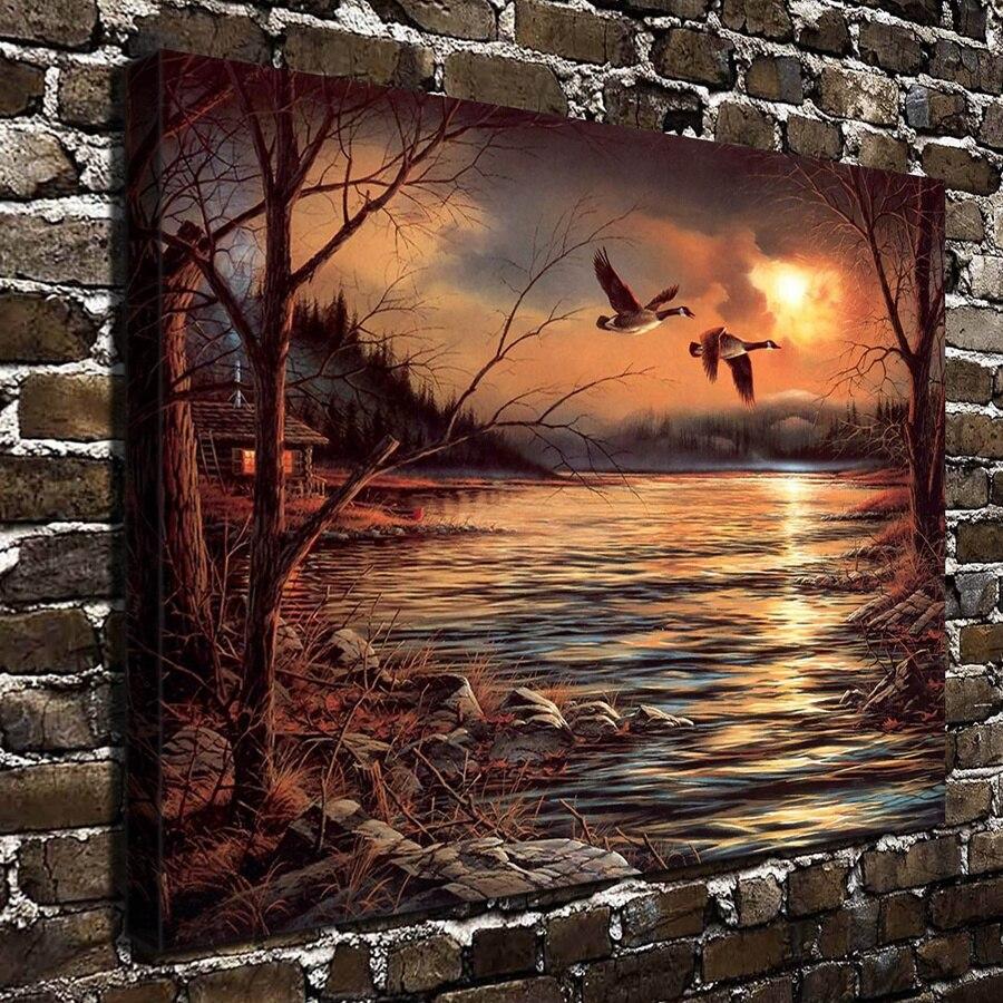 10563 terry redlin scenery animal bird lake hd canvas print home decoration living room bedroom