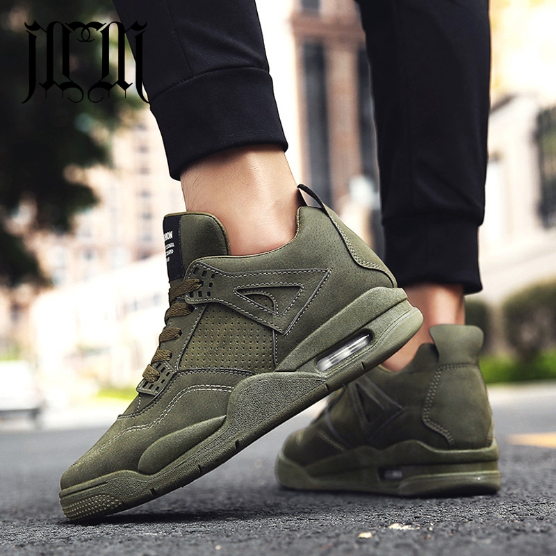 MumuEli Air Cushion Gray Green Black 2018 High Top Quality Shoes Men Winter Casual Designer Fashion Luxury Male Sneakers K616