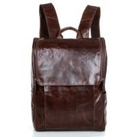 Real Genuine Leather Vintage Backpack Men School Male Coffee Day Bag Fashion Leisure Men's Travel Bags Laptop Backpacks J7344
