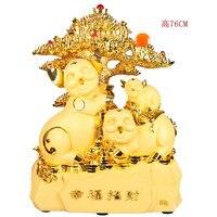 Изделия из смолы негабаритных золотых свиней украшения серии зодиака Свинья подарок домашний декор фигурки ремесла и Миниатюрные для гост
