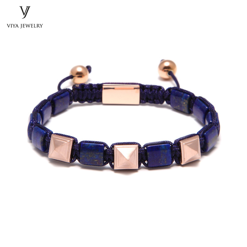 High-end Real Blue GES Stone with Pyramid Beaded Bracelet For Men Blue Lapis Lazuli Bracelet Natural Stone Jewelry For Men opk ds967 bracelet blue