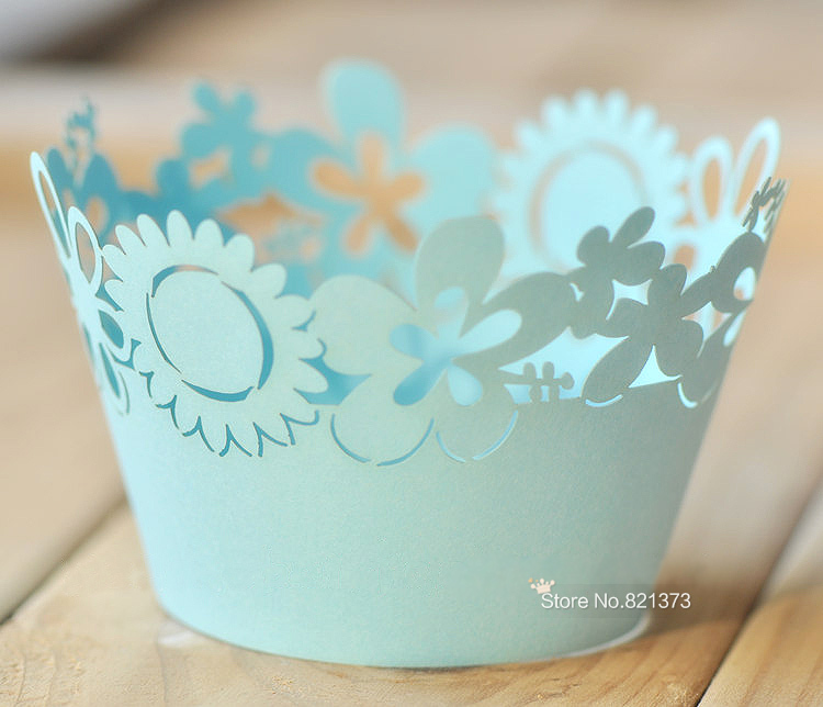 Free shipping blue flower laser cut cupcake wrappers mini - Gardeners supply company coupon code ...