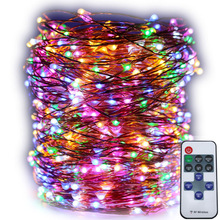 165FT / 50M LED telecomando filo di rame fata luci luminose calde luci stellate bianche per la festa di Natale decorazione del giardino di nozze