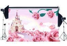 Fairytale Castle Backdrop Sweet Baby Shower Backdrops Pink Rose Flowers Bokeh Fantasy Cartoon Background