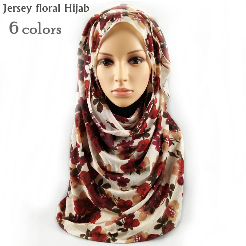 6 color New Jersey floral hijab scarf elastic shawl winer soft pretty scarves foulard twomen flower print shawl muslim headband