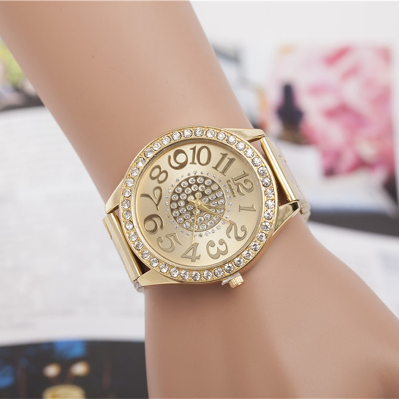 New Fashion Gold Watches Women Luxury Brand Rhinestone Stainless Steel Wristwatches Women Dress Watches For Ladies Quartz Watch gold & silver women luxury watches stainless steel dress quartz elegant watch fashion wristwatches ladies relogios top quality