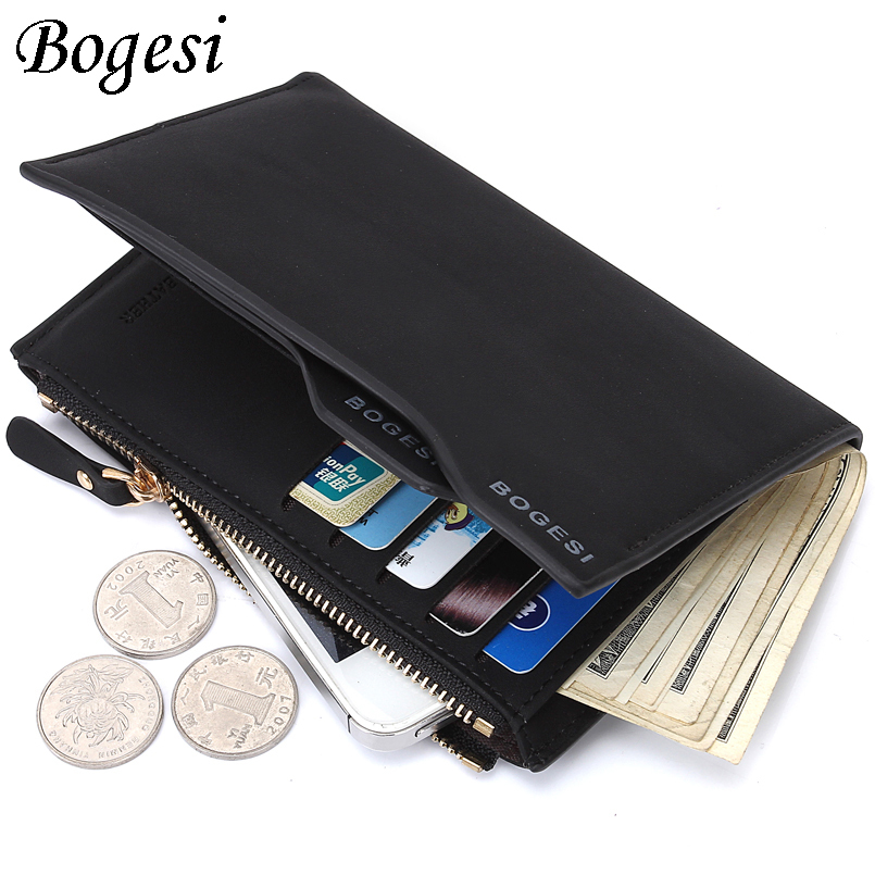 Middle Long Design Coin Pocket Zipper Men Wallet Quality Black Coffee Color Driver License Photo Bit Card Holder Purses Wallets