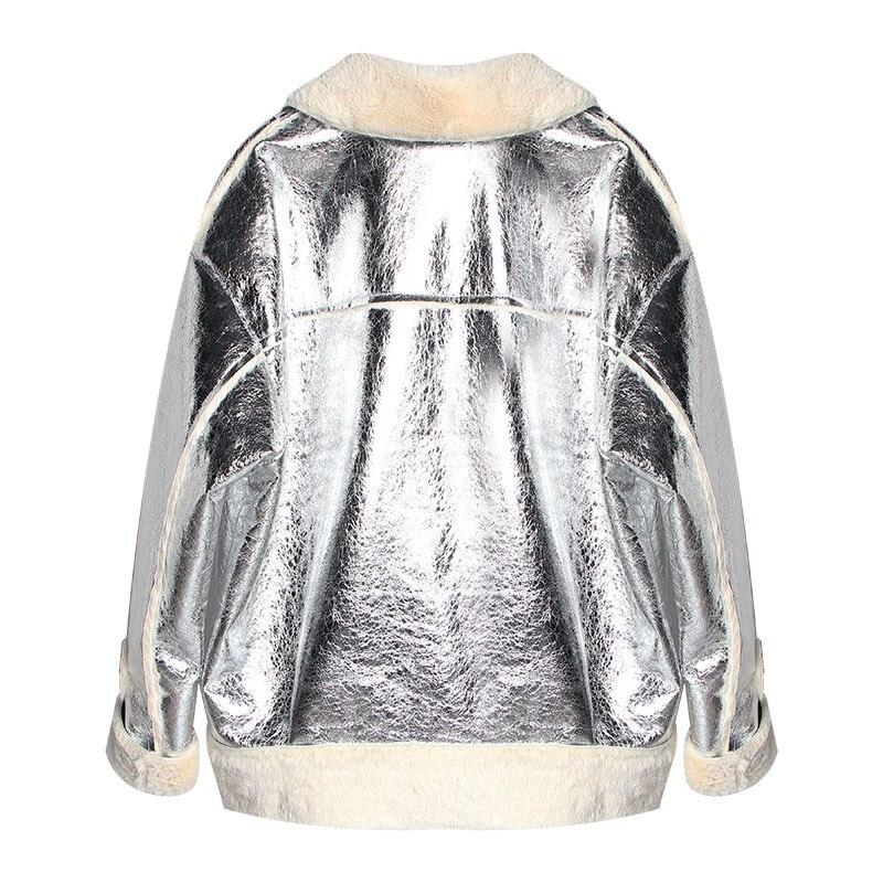 Nouveau Pour Taille Winterjacket Grande Femmes Argent D'extérieur Fissure Vêtements Haut Lâche Veste Femme Plus Automne Velours Manteau BanpOX