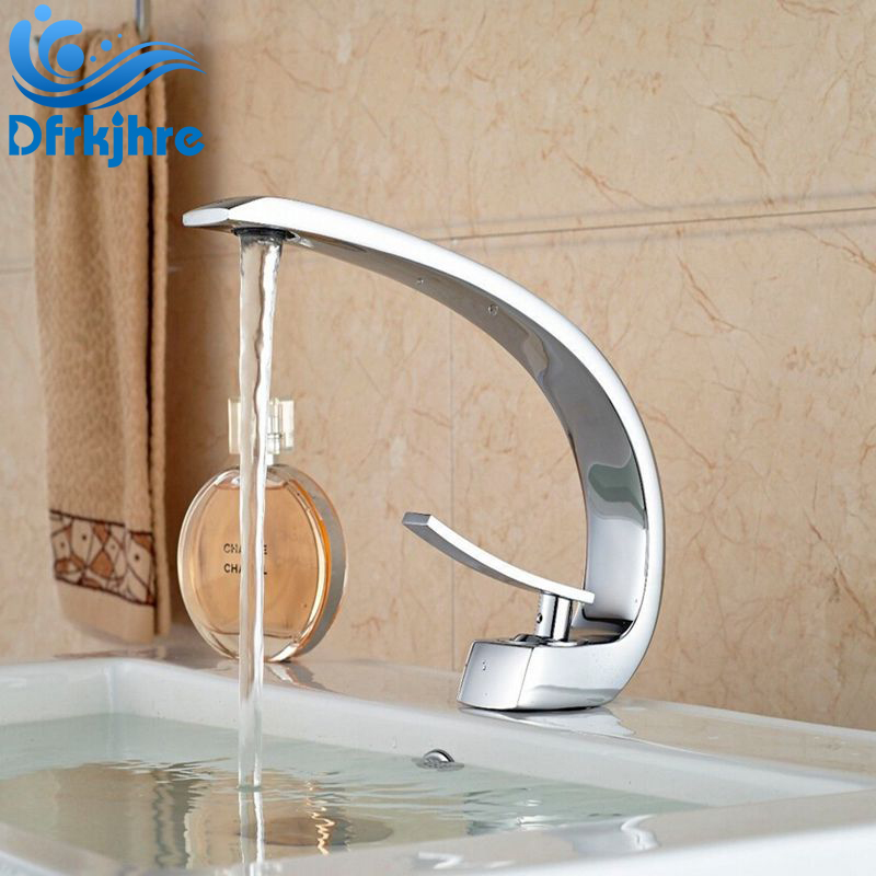 Chrome Finished Coutertop Brass Spout Bathroom Sink Faucet Single Handle Hot and Cold Mixer Tap Cocina Torneira chrome finished bathroom sink tub faucet single handle waterfall spout mixer tap solid brass