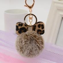 Fashion Faux Rabbit Fur Ball Keychain Women Handbag Pendants Car Key Ring Crystal Leopard Print Bow Chains Jewelry Gift