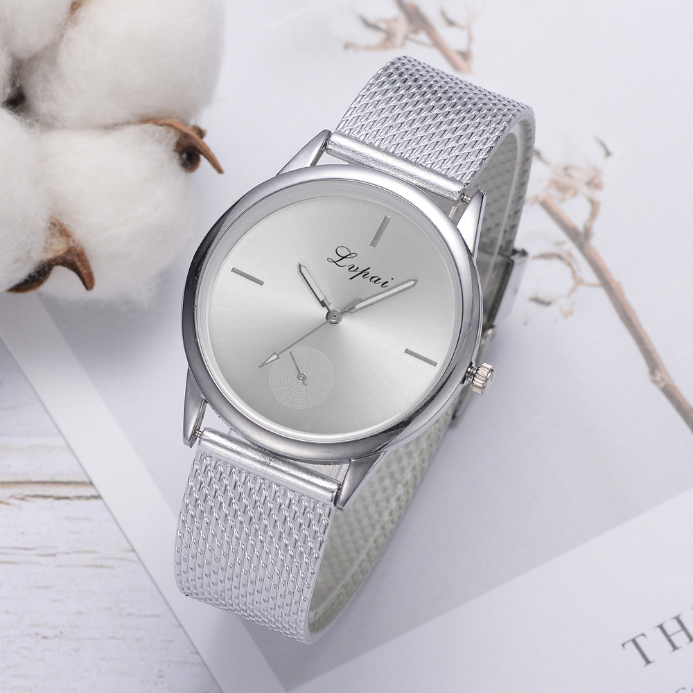 Women Watches Top Brand Luxury Quartz Movement Stainless Steel Sliver Round Dial Silicone Strap Wristwatches Reloj Mujer LD