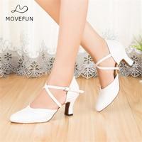 New Girl Wedding White Closed Toe Dance Shoes Ladies High Quality Salsa Tango Ballroom Latin Dancing Shoes Women Heels 5 6 7 8cm