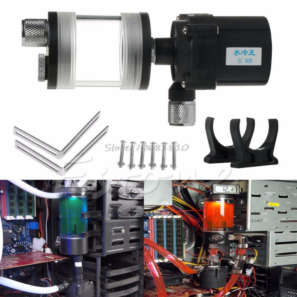 Prix pour Nouveau 60mm Cylindre Réservoir D'eau + SC600 Pompe De Refroidissement de L'eau de L'ordinateur Radiateur Ensemble-R179 Drop Shipping