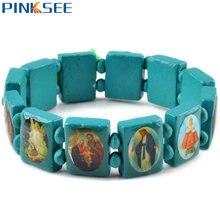 Модные квадратные деревянные браслеты ювелирные изделия для