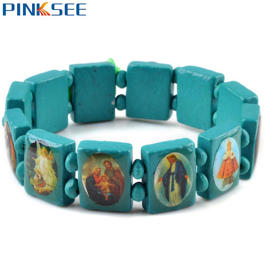 Fashion Square Wood Bracelets Jewelry For Girls Saints Jesus Religious Wood Catholic Bracelet 7 Colors Free Shipping