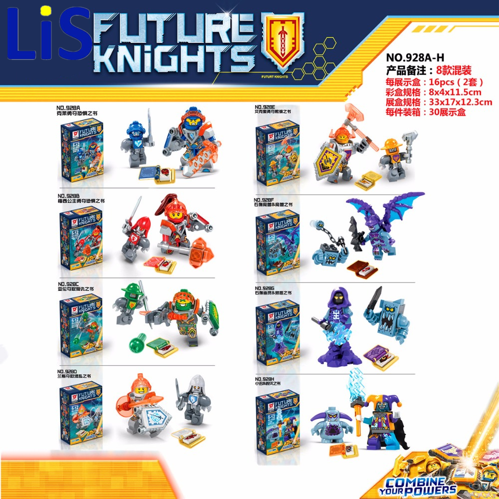 Lis D928 NEXOE Knights Axl CLAY Lance Macy Bot VS Jestro Gargoyle Brickster Stone Stomper Grimoire Compatible lepin block toy 1 pcs knights building block minifigures axl clay macy lance aaron jestro figures kids gift compatible nexus legoelieds dg884