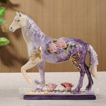 ceramic Purple rose horse statue home decoration accessories crafts room decoration ornament garden porcelain animal sculpture