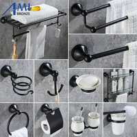 408B Series Black Paint Stainless Steel Bathroom Handware Towel Rack Towel Bar Paper Holder Robe Hook