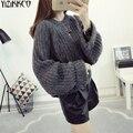 Suéter de las mujeres 2016 de Invierno Nueva Moda de Punto Suéteres de Alta Calidad de Manga Larga Suéteres Sweter Tire Femme Mujer SZQ095