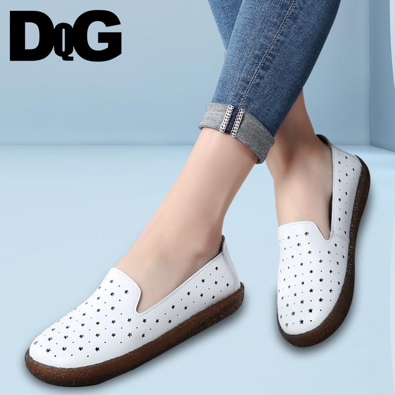 DQG 2018 Spring Women Leather Shoes Casual Summer Shallow Zapatos Mujer Slip On Breathable Hollow Solid White Female Shoes