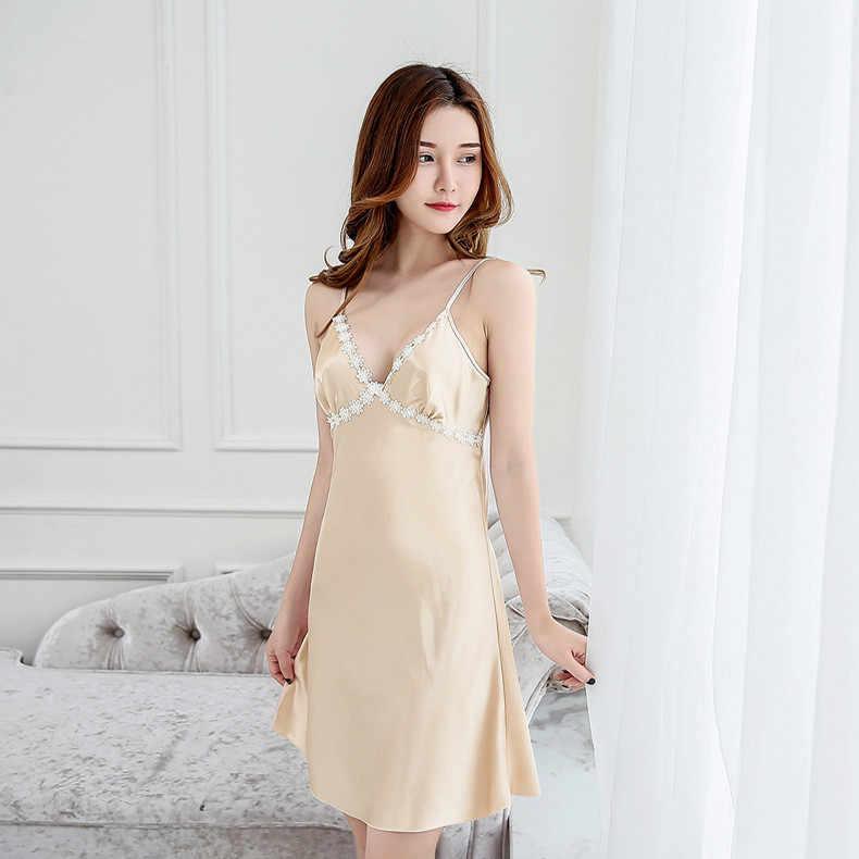 78e6f942dc ... Summer Sexy Women Satin Robe Lady Bathrobe Chinese Girl Nightgown  Sleepwear Strap Nightie Nightdress LACE Flower ...