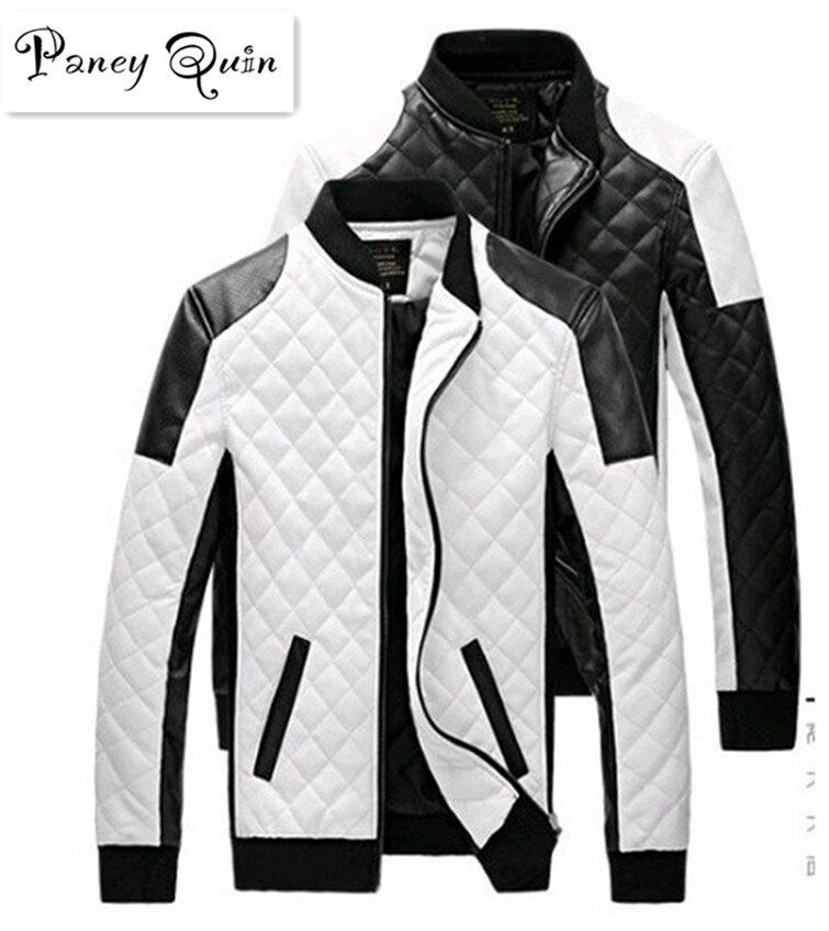 Homens De Couro Jaquetas casacos de outono malha branco preto dos homens Jaquetas de Couro Jaquetas de Couro casaco De Inverno Camurça Jaqueta básica