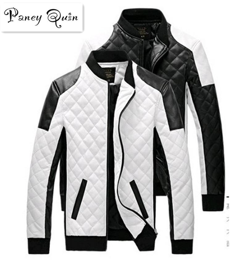 ผู้ชายเสื้อแจ็คเก็ตหนังฤดูใบไม้ร่วงสีดำสีขาวลายสก๊อตผู้ชายหนัง Jaquetas แจ็คเก็ตเสื้อหนังฤดูหนาวหนังแจ็คเก็ตขั้นพื้นฐาน
