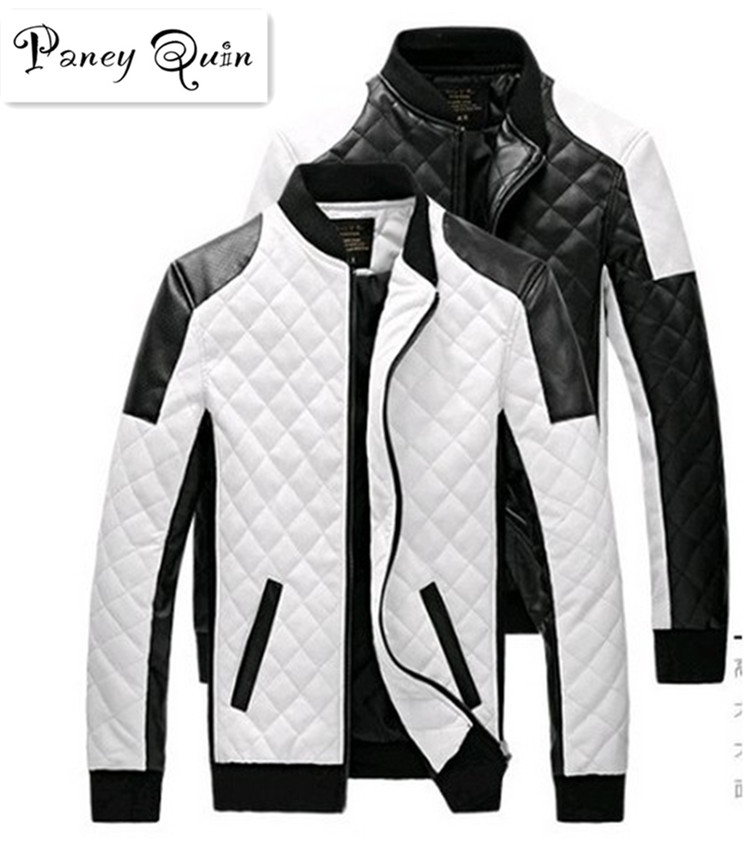 Herren Lederjacken Mäntel Herbst schwarz weißes Gitter Männer Leder Jaquetas Jacken Mantel Winter Leder Wildleder Basic Jacket
