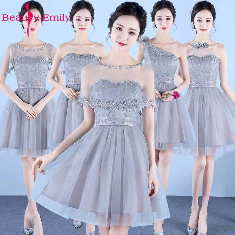 Beauty-Emily 2018 New Short Cheap Bridesmaid Dresses A-line Knee-Length Off the Shoulder Prom Party Dresses Women Sexy Dresses