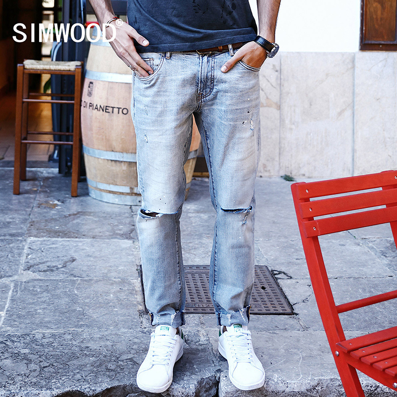 SIMWOOD 2017 Autumn New biker Jeans Men Fashion Holes Fashion Slim Fit Denim Trousers SJ6087