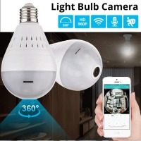 Wireless WIFI 360 Video Camera 960P Fisheye Bulb Light Lamp Panoramic Full HD Motion Detection For Home Security Cameras Night