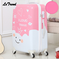 Letrend Cute Cartoon Student Rolling Luggage Spinner Children Trolley Suitcase Wheels Kids Carry On Travel Bag Hardside Trunk